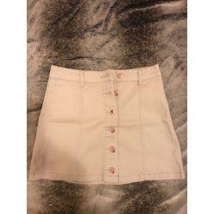 Dresses & Skirts - Tan Rose Gold Button Down Mini Skirt Size 26